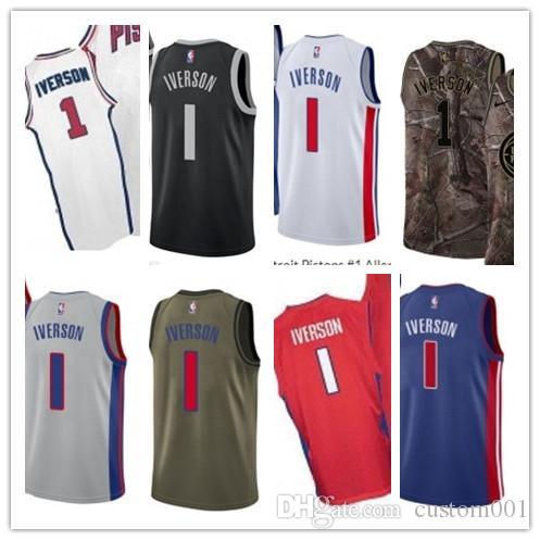 big sale 15d62 cbb75 custom 2019 Detroit Piston Jerseys #1 Allen Iverson Jerseys  men#WOMEN#YOUTH#Men's Baseball Jersey Majestic basketball jersey