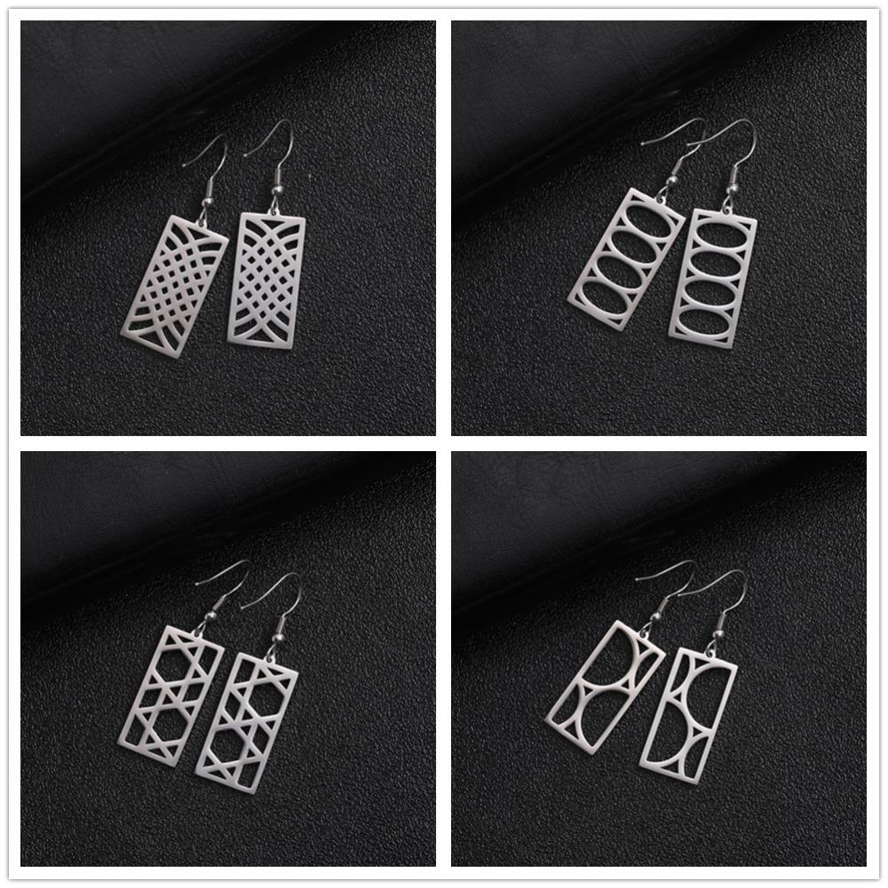 My Shape Stainless Steel Square Long Drop Earrings Vintage Geometric Hollow Dangle Earrings Ear Jewelry Gold Black Ethnic Style