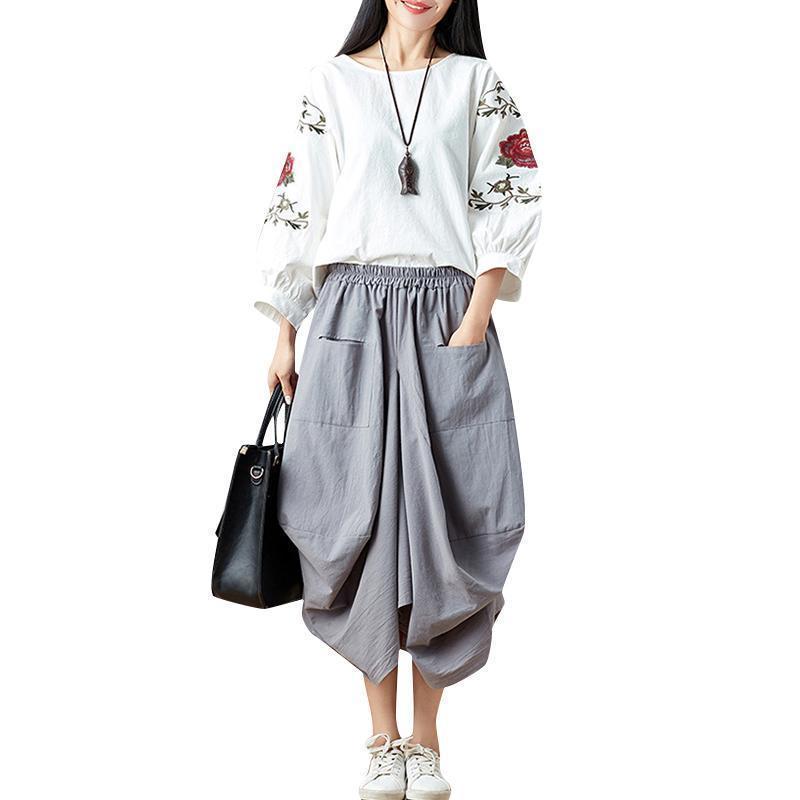 03a1e7f061 Compre 2019 Otoño Vintage Mujer Falda Suelta Asimétrica De Algodón Elástico  Faldas De Cintura Alta Harajuku Bolsillos Delanteros Bud Baggy Midi A   39.89 Del ...