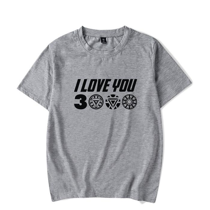 Men T-Shirts I Love You 3000 Three Thousand Times Awesome Cotton Tees Avengers Endgame T Shirts Iron man Clothing Plus Size Z-14