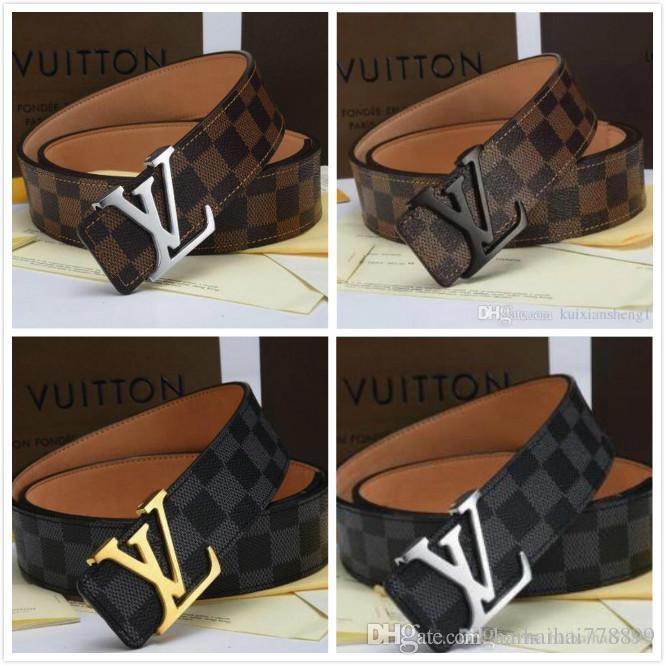 4bbfa0003 Compre LOUIS VUITTON Cinturón De Hebilla De Marca Caliente Cinturón De  Cuero Real Dorado Y Negro Cinturones Negros Cinturón Para Hombres Y Mujeres  De ...