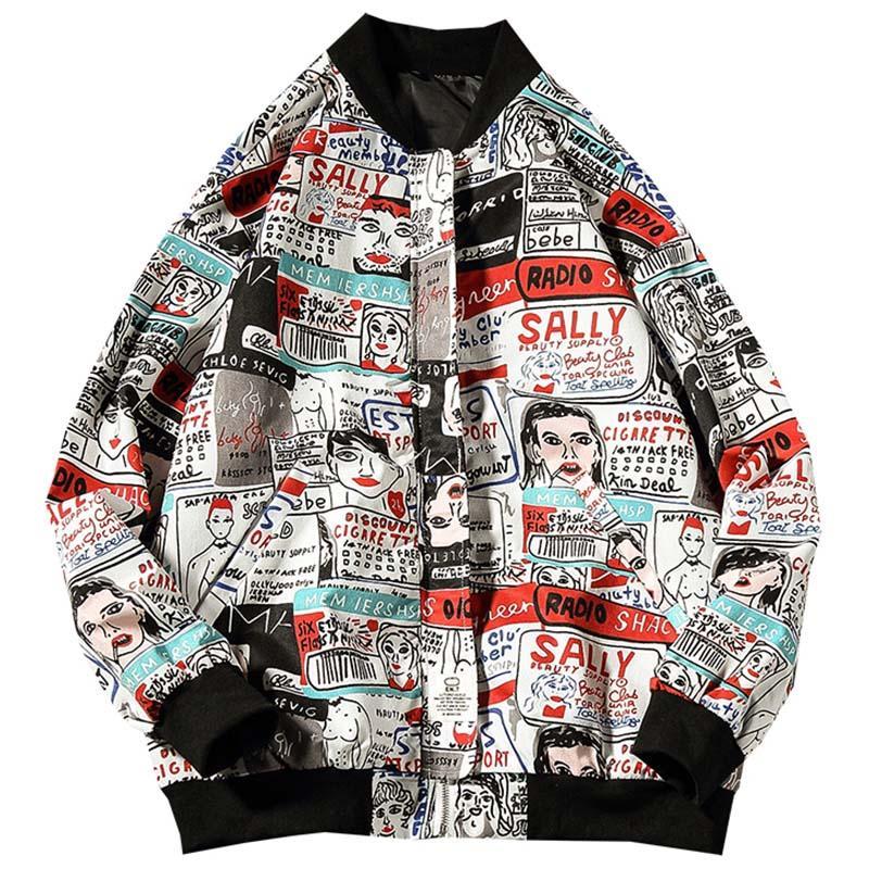 Compre Hombres De La Chaqueta De Hip Hop Harajuku Chaqueta De Estilo  Japonés Abrigo De Los Hombres Imprimir De Dibujos Animados Bomber Informal  Otoño ... ce885ef52da