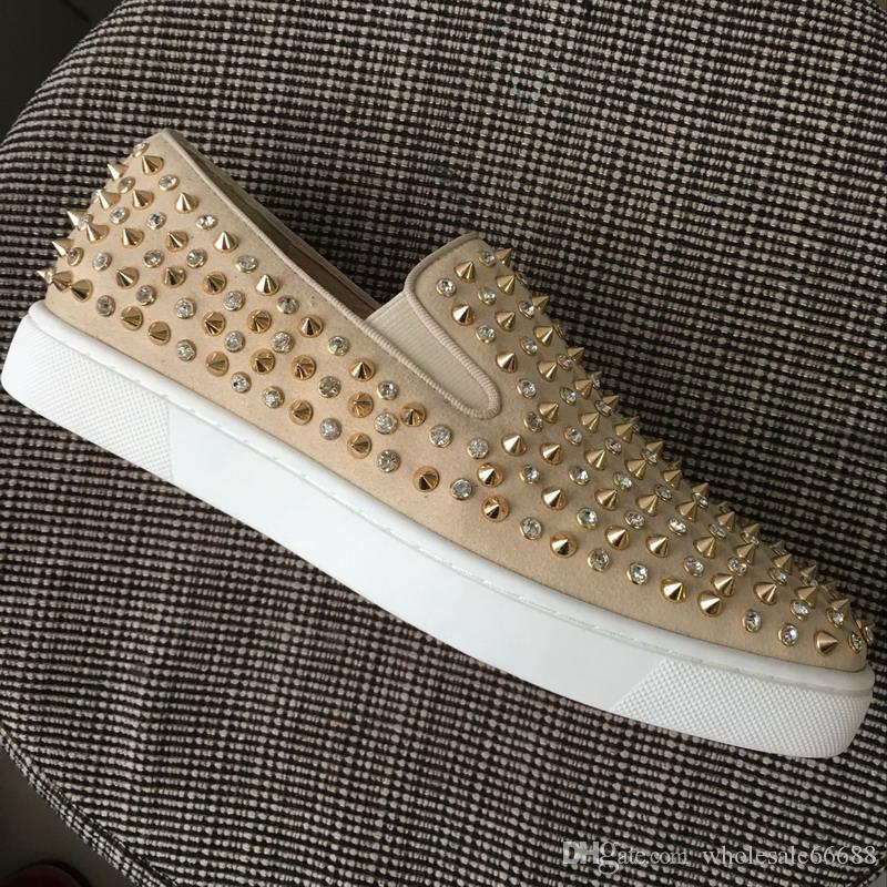 cd6cf2e199582f New 2019 Designer Men Women Beige Suede with Studded Spikes Rhinestones Low  Top Red Bottom Casual Shoes