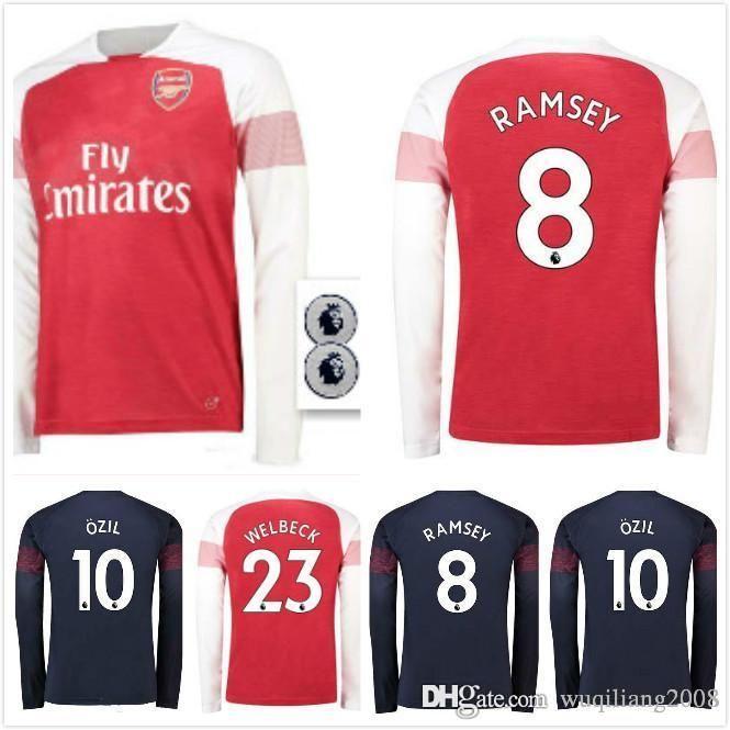 the latest 4ba67 ae3af free ship Arsenal home away long sleeve Soccer Jersey 18 19 #7 MKHIARYAN  away soccer shirt 2018 2019 #10 OZIL long third Football uniforms