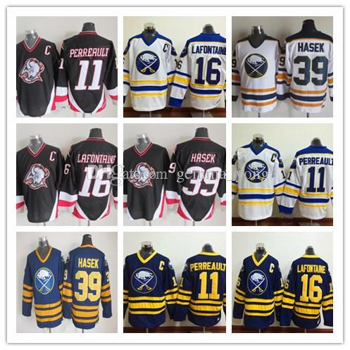 46e4c4af0 2019 1992 Vintage Buffalo Sabres Ice Hockey 16 Pat LaFontaine 11 Gilbert  Perreault 39 Dominic Hasek Retro Stitched Jerseys Black White Blue From  Gemma_yong, ...