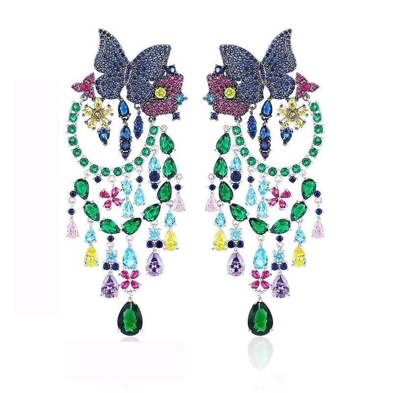 925 sterling Silver Needle Euro-American Wind Heavy Industries Luxurious Exaggeration Butterfly Super-shining Zircon Earrings, Tassels and C
