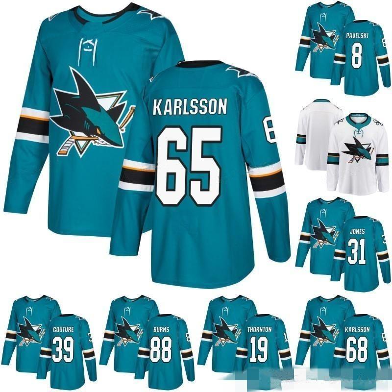 size 40 a5dc9 d6c6b 65 Erik Karlsson San Jose Sharks Jersey 88 Brent Burns 8 Joe Pavelski 19  Joe Thornton 39 Logan Couture 9 Evander Kane Blank Green Stitched