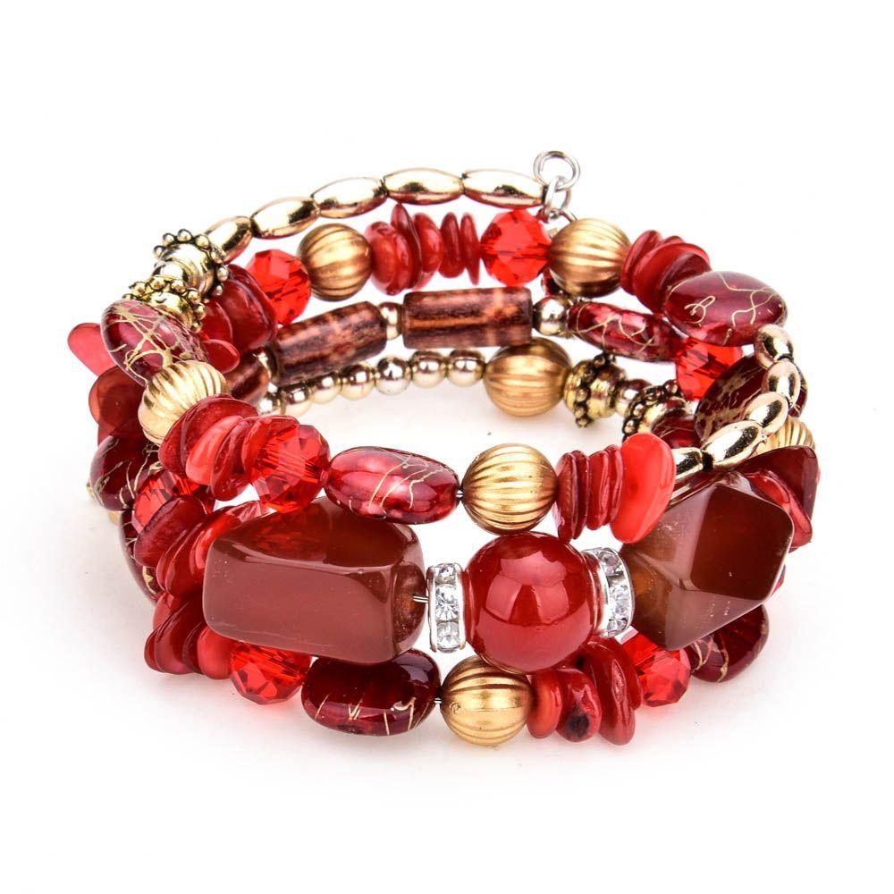 LUBINGSHINE Femme Boho Multilayer Beads Charm Bracelets for Women Vintage Resin Stone Bracelets & Bangles Ethnic Jewelry Gift