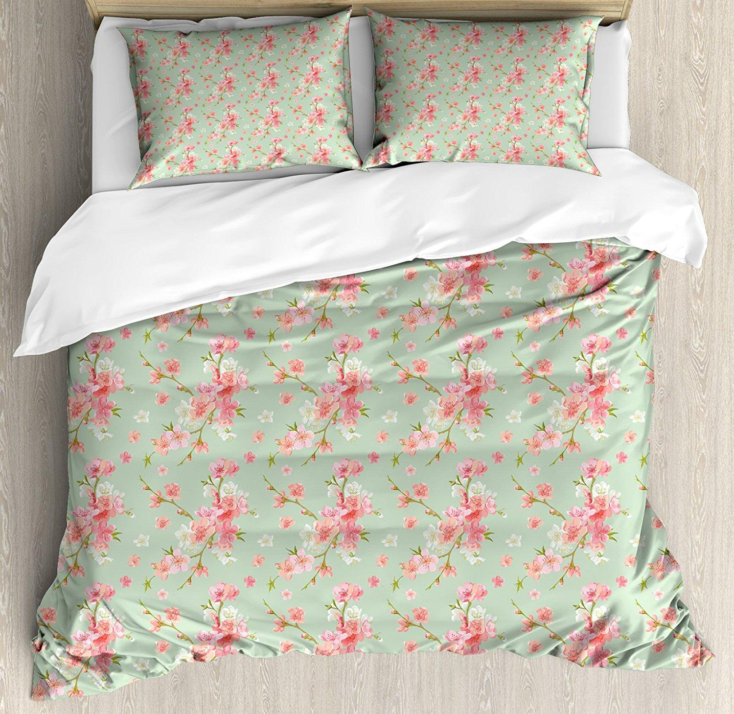 Marvelous Shabby Chic Duvet Cover Set Flowers Of Spring Flourishing Nature Branches With Vintage Inspirations 4 Piece Bedding Set Home Remodeling Inspirations Basidirectenergyitoicom