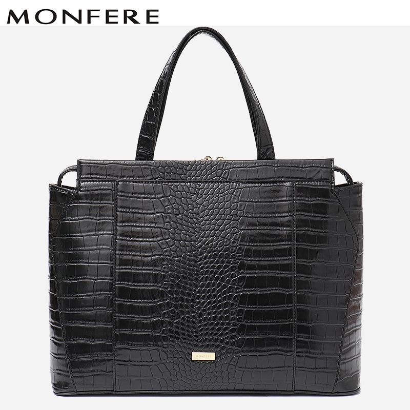 1f18feb2b5a8 MONFERE Business Women Vegan Leather Tote Bags Alligator Print Office Lady  Laptop Top Handle Shoulder Bags Female Messenger Luxury Bags Handbags  Wholesale ...