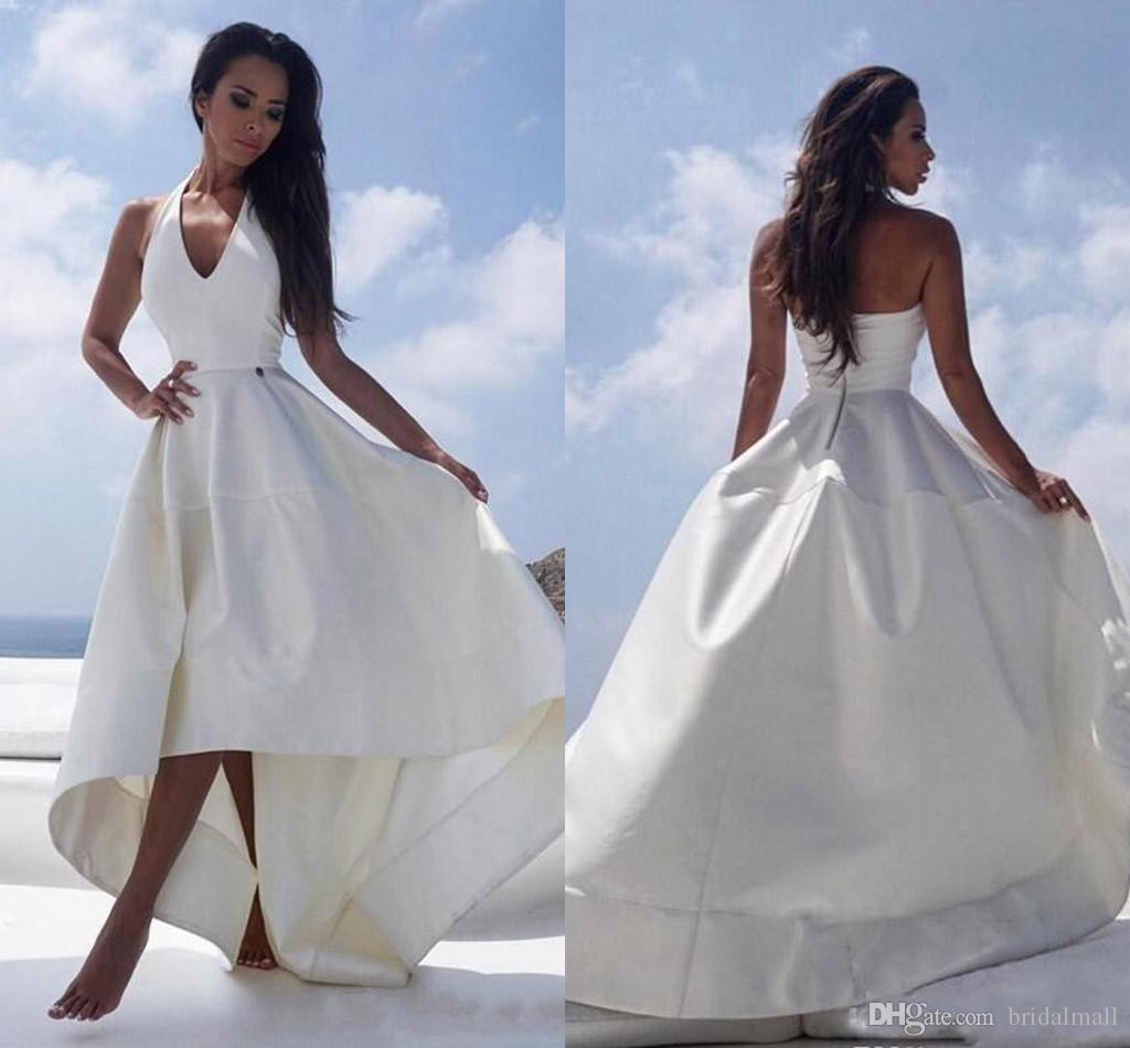 f5523c8d4e28 Discount 2019 White Satin High Low Beach Wedding Dresses Halter V Neck Sexy  Backless Reception Dress For Women Cheap Summer Bridal Party Gowns Halter  Neck ...