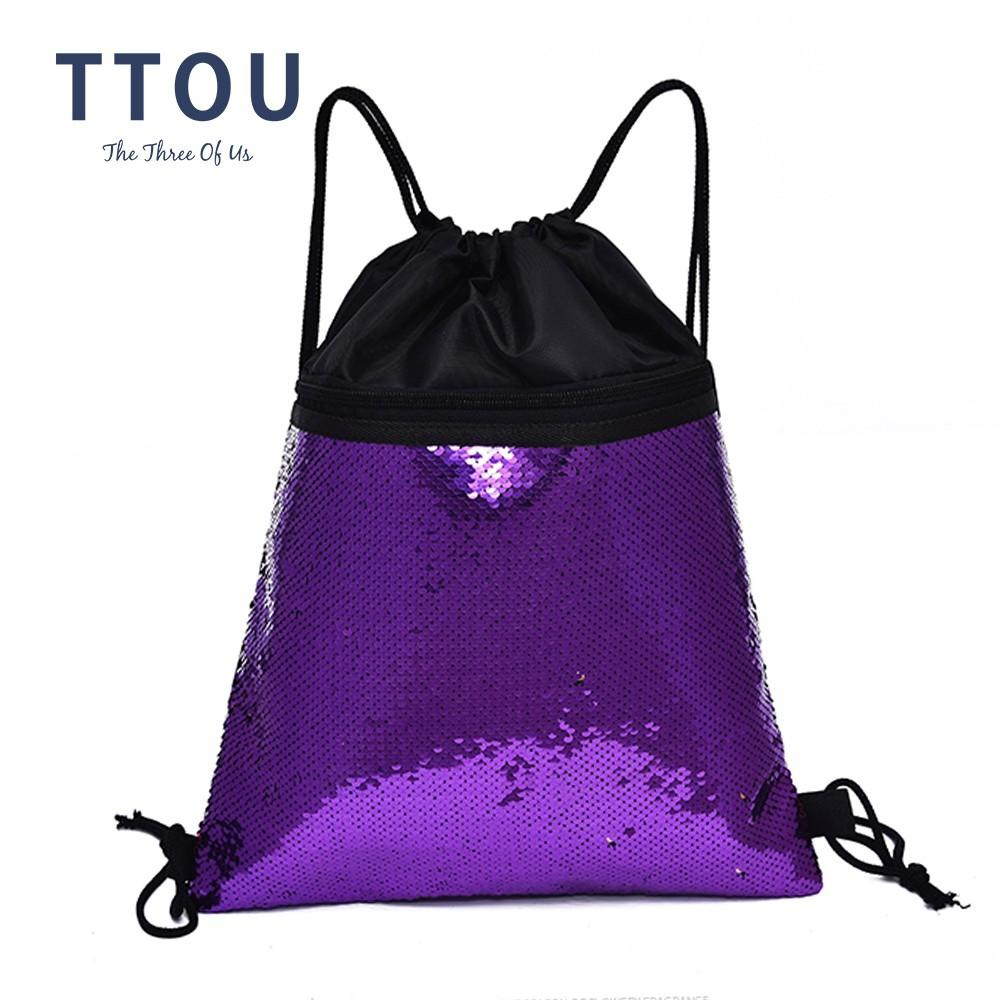 ff91deb4fb TTOU Fashion Paillete Drawstring Backpack Women Daily Knapsack Casual  Double Color Sequins Drawstring Bag Bolsa Hydration Backpack Womens  Backpacks From ...