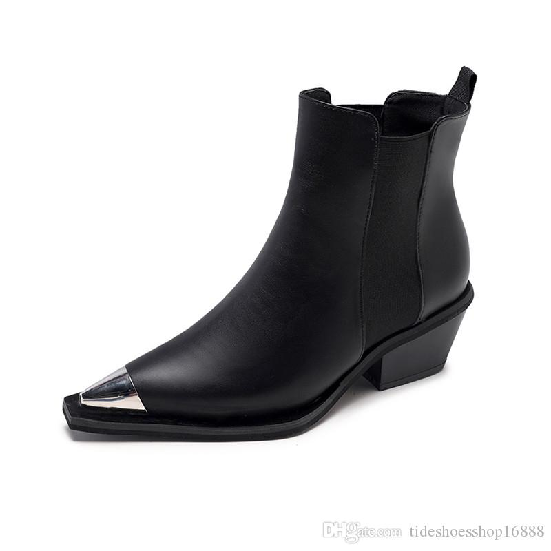 834168002c5e New 2019 Women Black Ankle Boots Sexy Metal Toe Spring Autumn Woman Thick Heel  Boots Shoes Night Club Dancing Pumps Brand Basic Boots Wedges Shoes  Designer ...