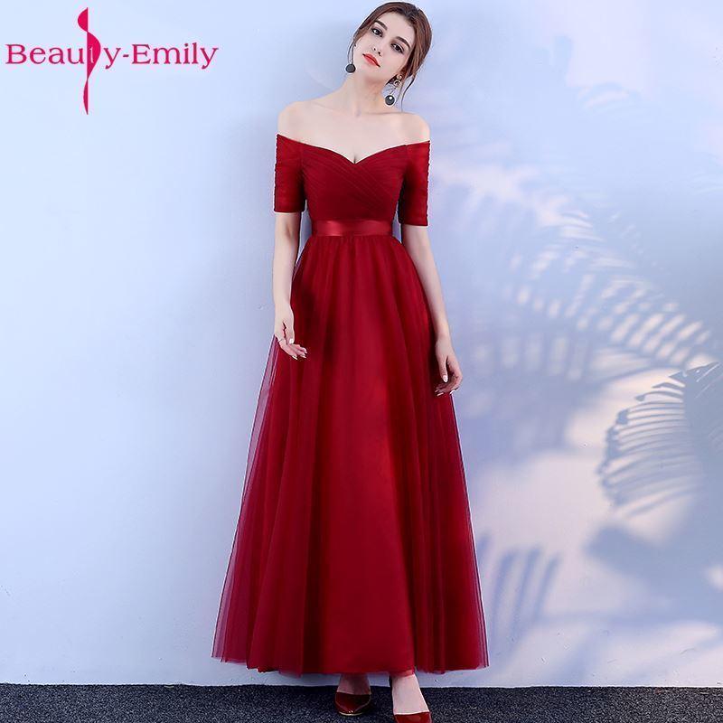 affffc8fdf Beauty-Emily Long Burgundy Cheap Bridesmaid Dresses 2019 A-Line Off the  Shoulder Half Sleeve Vestido da dama de honra T19053005