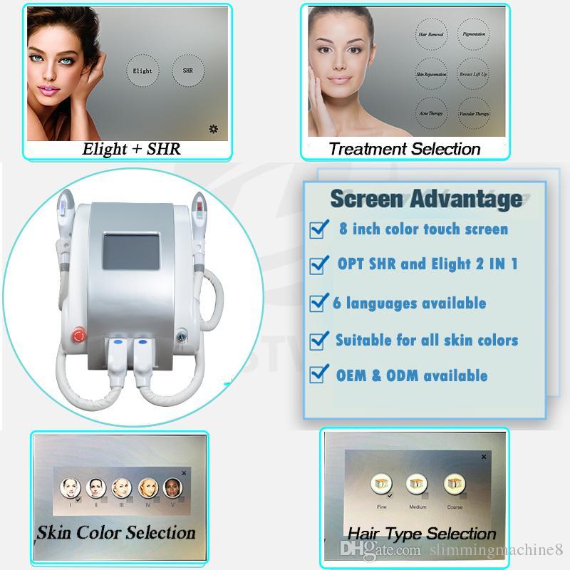 e equipo de belleza E-Light luz de la máquina rejuvenecimiento de la piel e máquina de depilación luz de cara carrocería 7 filtros 600000shots envío libre