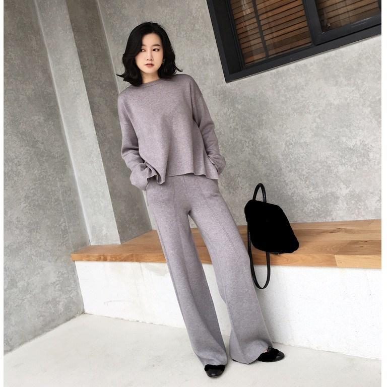b34e0819fa56a 2019 2018 Autumn Winter Women Two Piece Sets New Sweaters And Wide Leg  Pants Knitted Suits Fashion Split Casual Outfits C19012101 From Shen8408