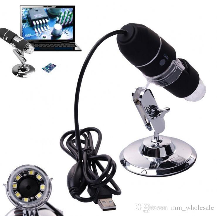 8x LED light Mini USB 50X-1000X Portable Magnifier USB Digital Microscope Endoscope Camera+Stand Free shipping