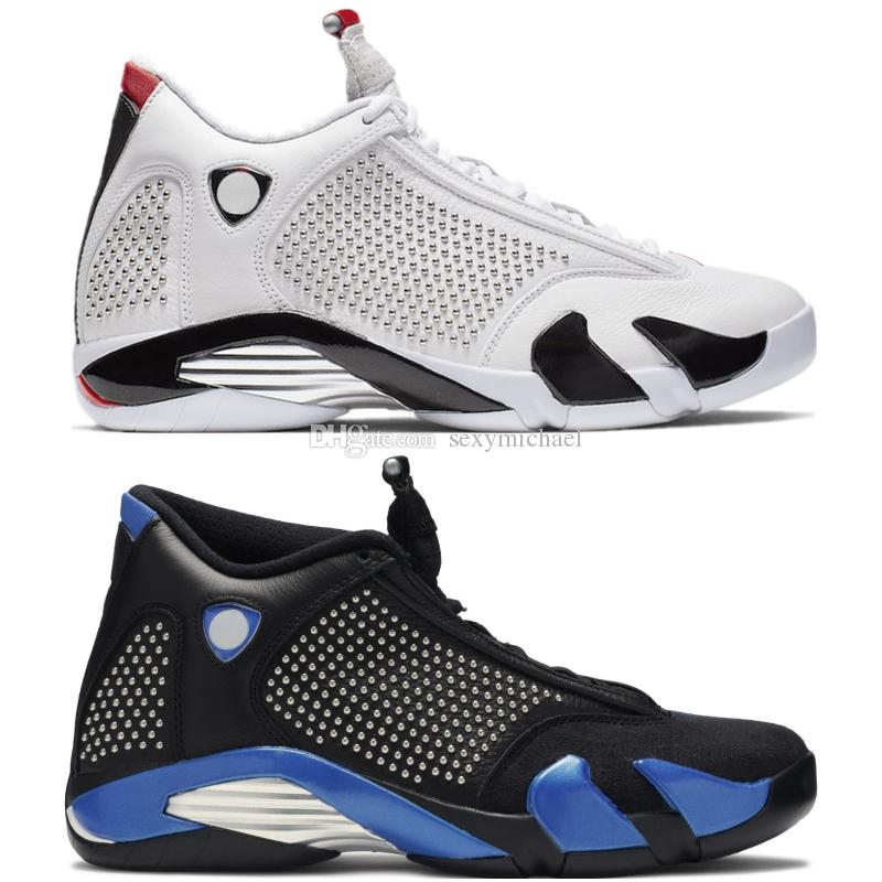 meet b4280 bef5b 14 Supre White Black blue 14s Basketball Shoes TOP Factory Version high  quality mens New 2019 Sneakers with box