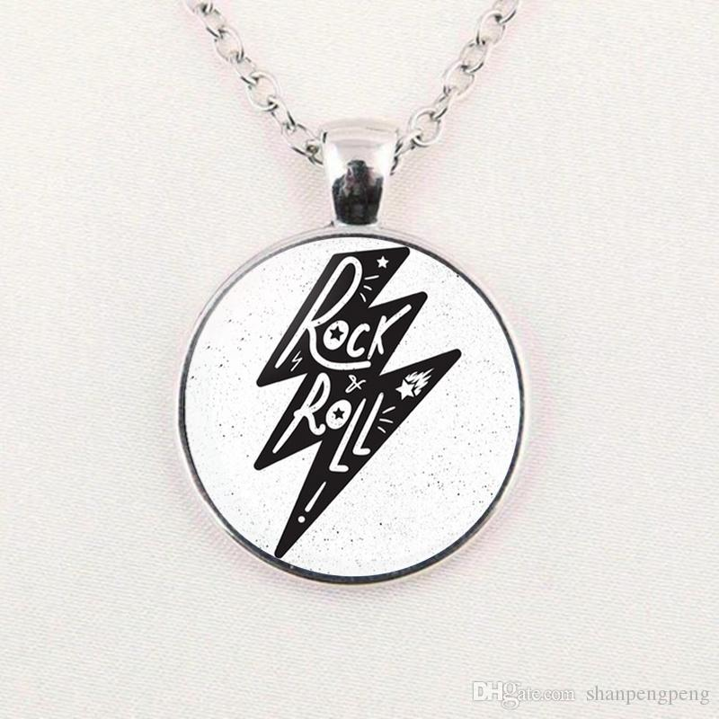 2019 new fashion necklace Rock and Roll Art Photo Pendant Necklace Glass Dome Chain Jewelry Gift