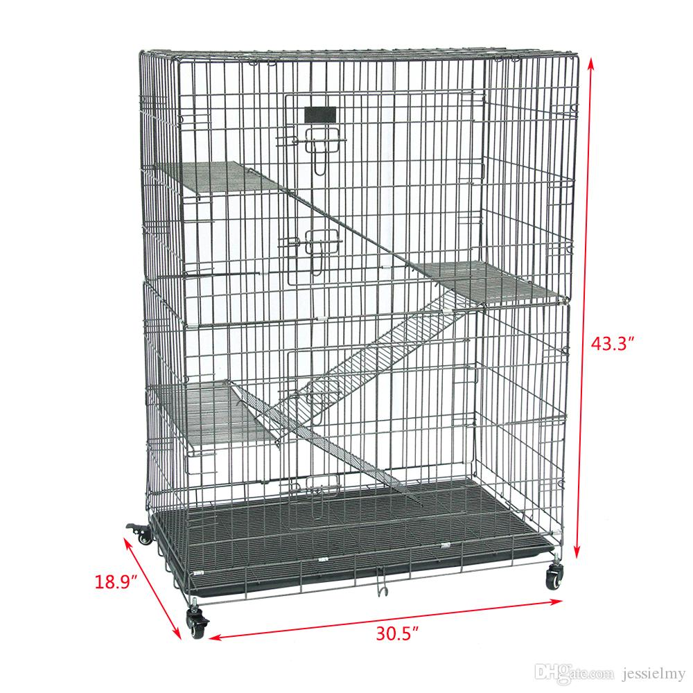 SONYI Cat Wire Cage,Spacious Folding Metal Pet Crate Playpen with 3 Openings,3 Platforms,3 Ladders,1 Hammock,1 Bottom Tray,4 Wheel