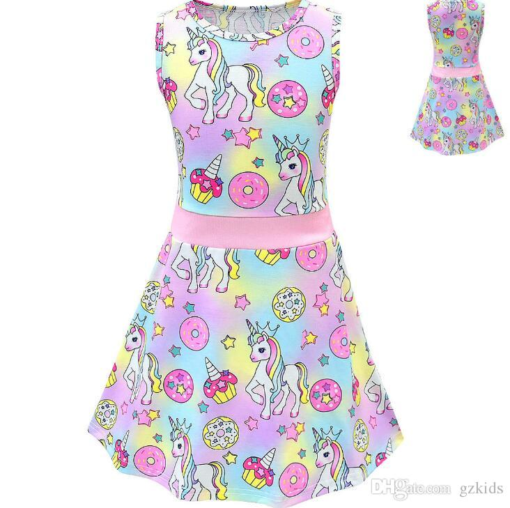 f68f8265cc0 2019 Baby Clothes Set Toddler Kids Baby Girl Cartoon Unicorn Print ...