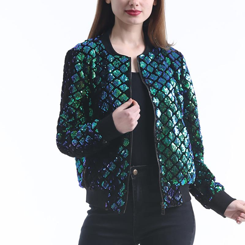 45cd468a New Spring Autumn Women Sequin Coat Green Bomber Jacket Long Sleeve Zipper  Streetwear Jacket Preppy Casual Basic Coat 6Q2533 Kids Leather Jackets  Cheap ...