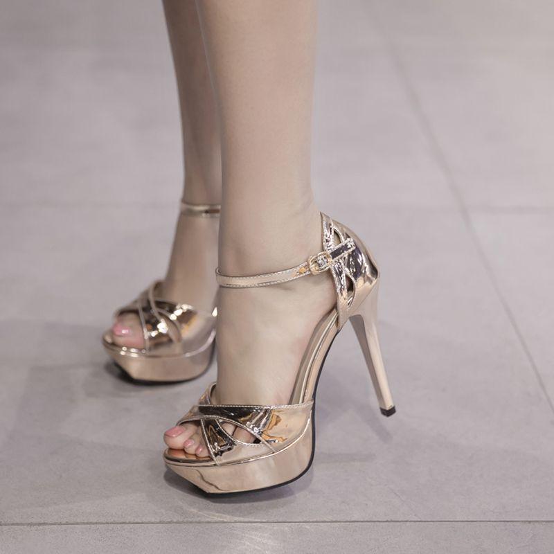 Womens Platforms Shoes 11cm High Heel Sandals Gold Ladies Sandals Summer  Sexy Peep Toe Stiletto Party Dress Silver Wedding Shoes Espadrilles  Birkenstock ... e08ffcda2e93