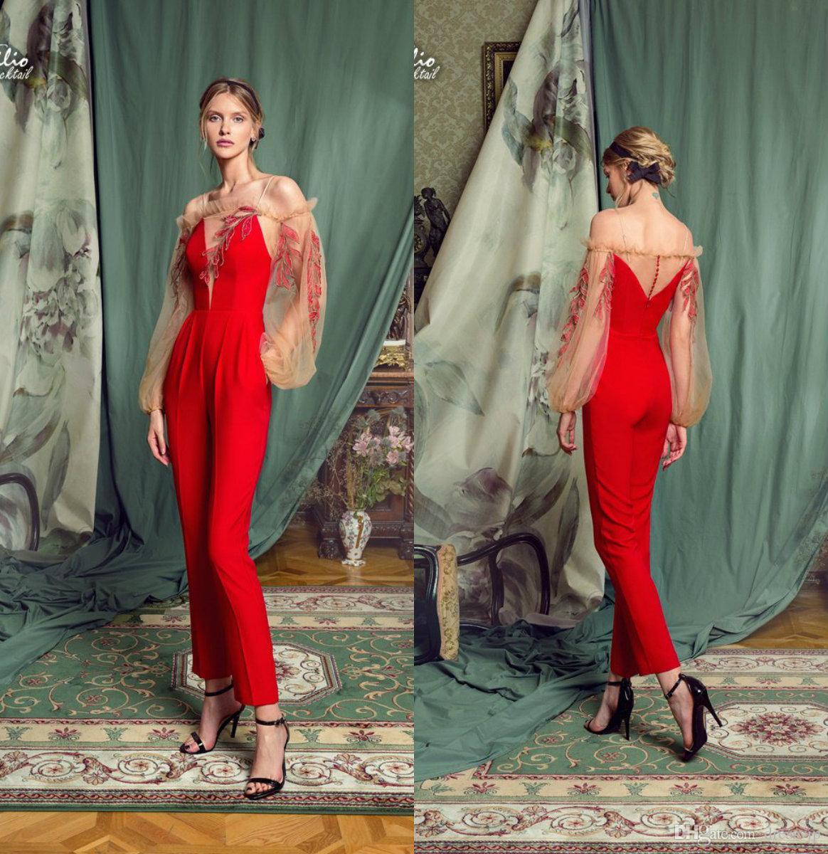 2361c134e1c 2019 Cocktail Dresses Fashion Women Jumpsuits Off The Shoulder Lace  Appliqued Long Sleeve Prom Dress Elegant Evening Gowns Funky Cocktail  Dresses Plus Sized ...