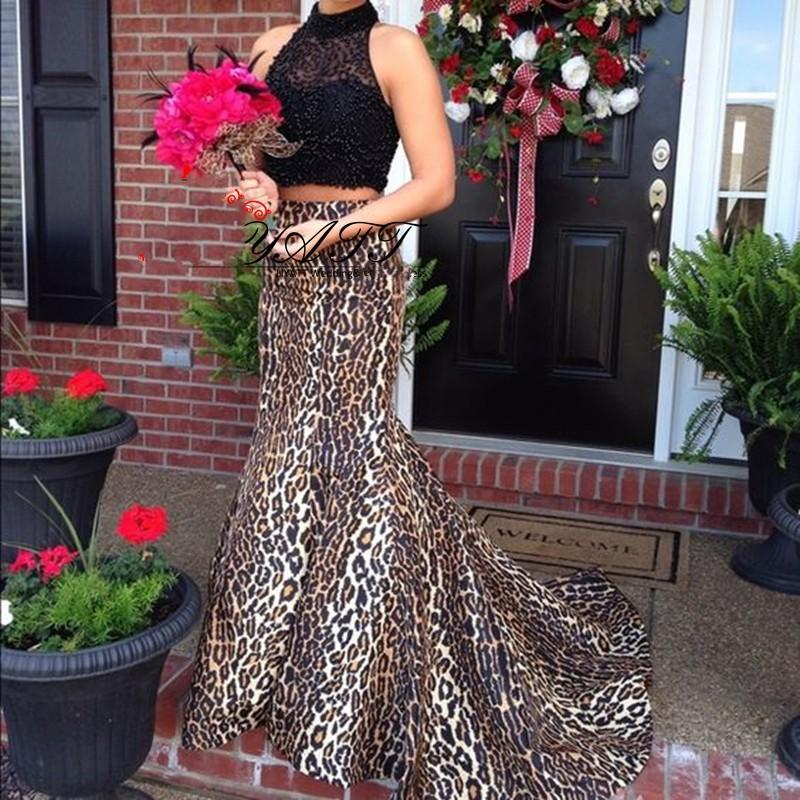 fce49c6b9db3 New 2019 Sexy Leopard Print Two Pieces Prom Dresses High Neck Beading Sweep  Train Mermaid Evening Dress Party Gowns Formal Dresses Online Lace Prom  Dresses ...