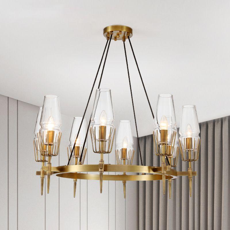 Postmodern Led Chandelier Designeru0027S Lighting Living Room Bedroom Cooper  Lamp Industrial Glass Shape Bronze Gold Luster AC 90 260V Commercial Pendant  ...