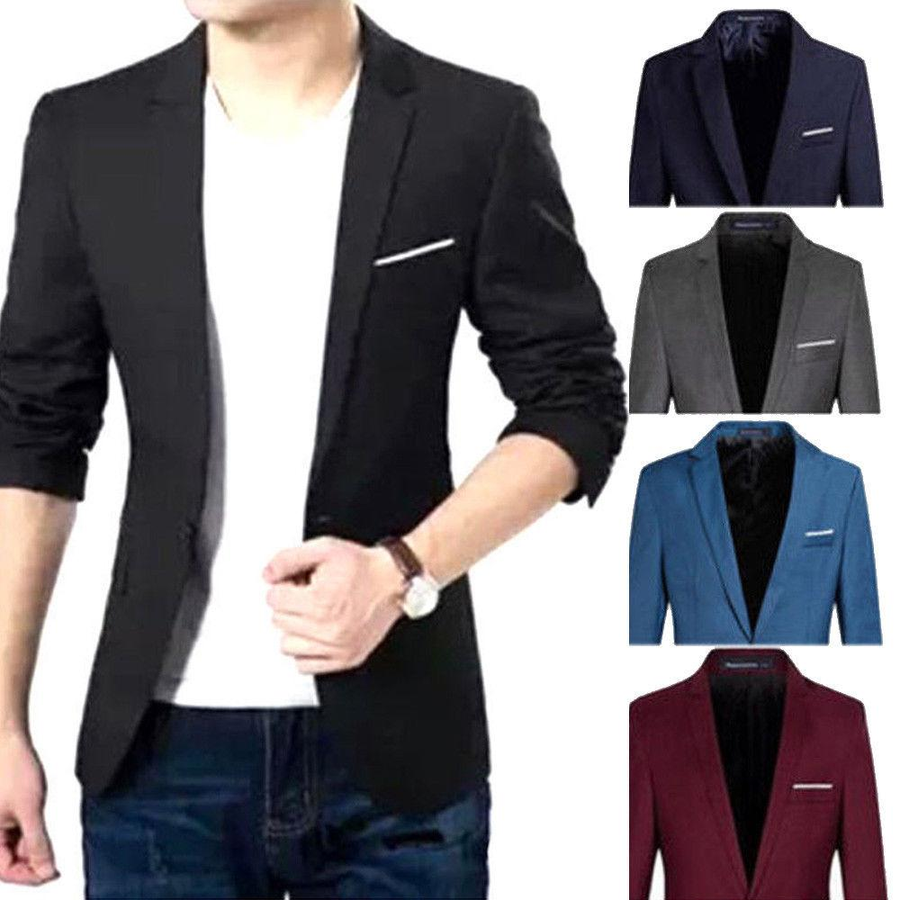 f1722ebbe06 2019 Fashion New Luxury Men Blazer Casual Slim Fit Formal One Button Suit  Blazer Coat Jacket High Quality Cotton Slim Fit Men Suit From Michalle