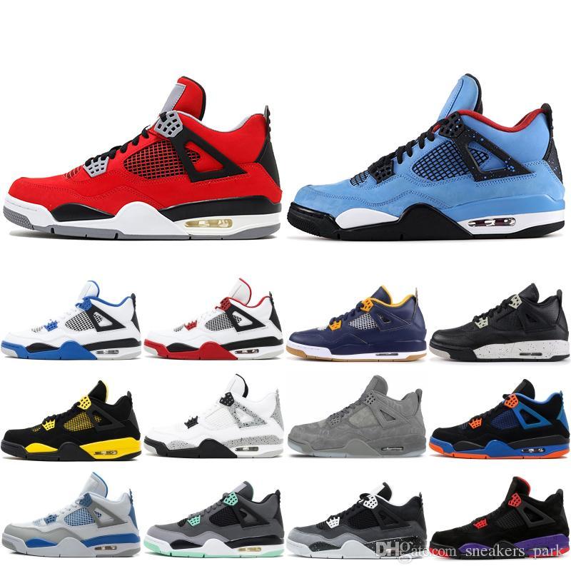 nouveaux styles 758d2 51909 2019 Nouveau Air Jordan Retro 4 4s Chaussures de basket-ball pour hommes  Toro Bravo Cactus Jack 2012 Publication White Cement Designer Sport  Sneakers ...