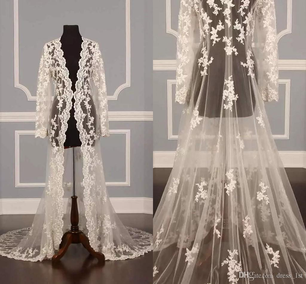 Elegant 2018 Bridal Wedding Long Lace Appliqued Jacket A Line Court Train Long Sleeve Women Lace Long Jacket for Beacj Wedding Dresses