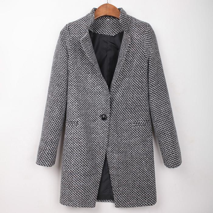 b13702020 2019 2018 New Wool Coat Winter Coat Women One Button With Pocket Winter  Woman Coats Woman Casual Plaid Female Jacket From Seanliugao, $32.48 |  DHgate.Com