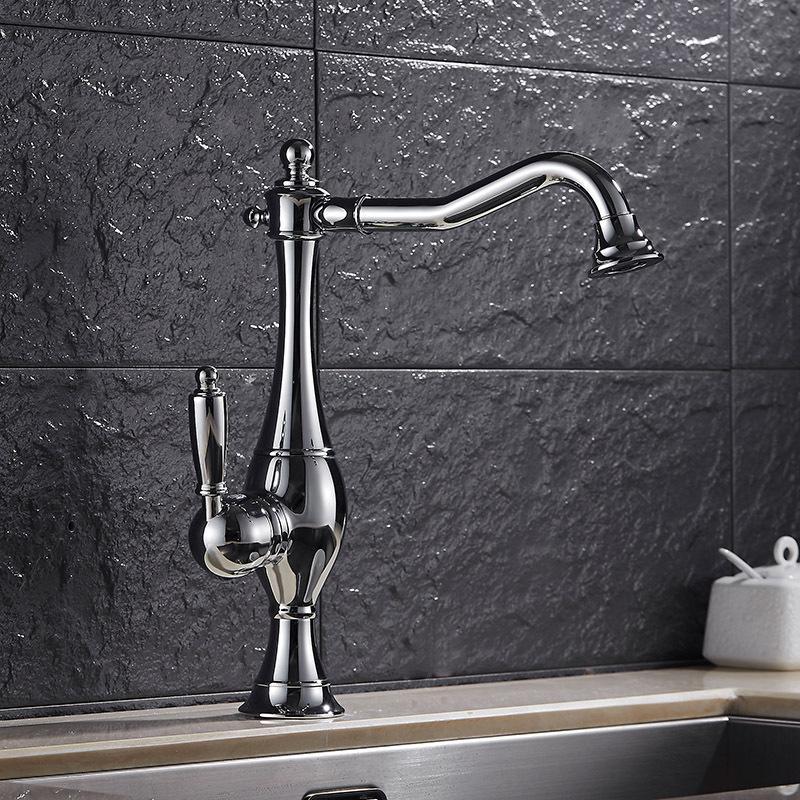 Retro Kitchen Faucet Hot & Cold Mixer Tap Sink Basin Kitchen Antique Brass  Taps 360 Swivel Faucet For