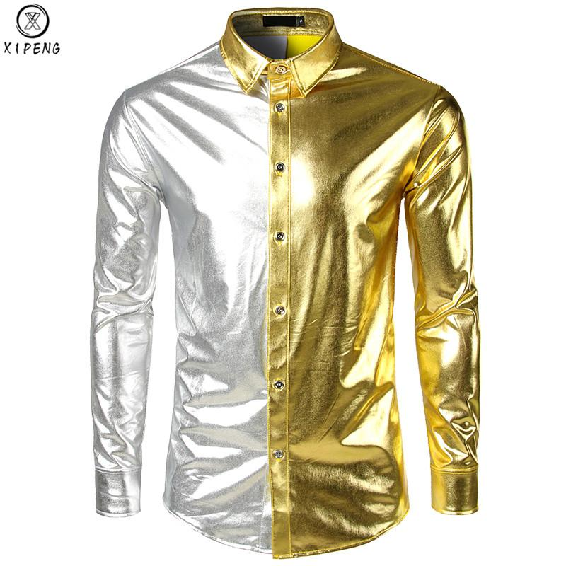 Männer Metallic Shiny Nachtclub Schlank Dress Shirt 2019 Neue Mode Gold Splitter Patchwork Disco Dance Tops Kostüm Party Clubwear