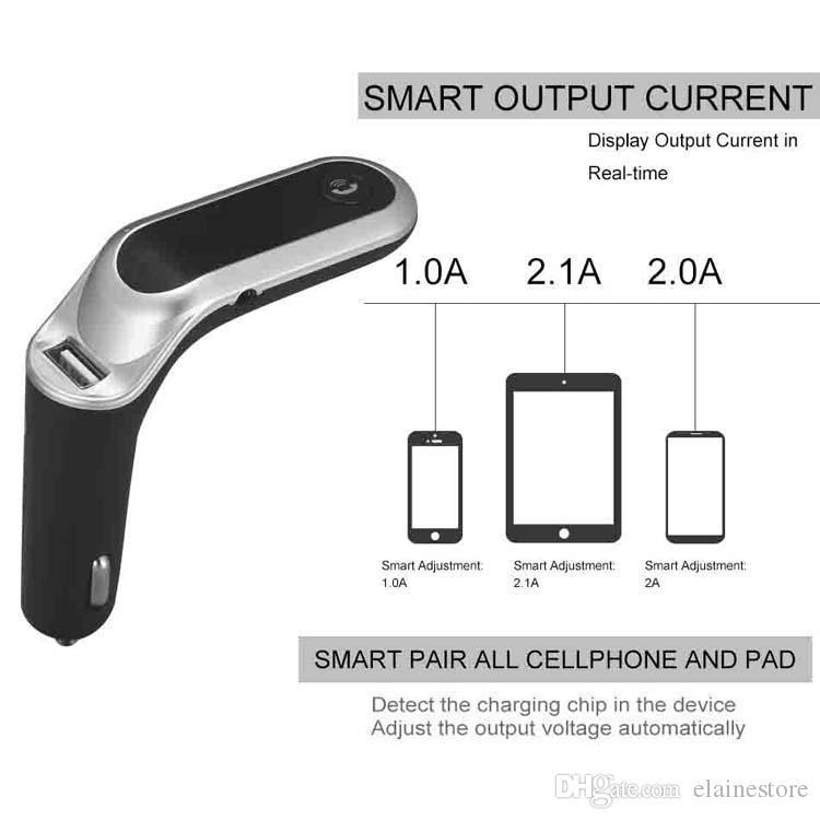 S7 Беспроводной Bluetooth FM передатчик Car Kit CiGarette Leafer MP3 Музыкальный проигрыватель USB Автомобильное зарядное устройство Быстрая зарядка Радиадаптер