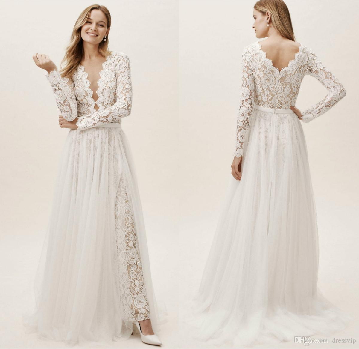 22c69999ab5c 2019 Bhldn Country Wedding Dresses With Detachable Overskirts V Neck Sweep  Train A Line Long Sleeves