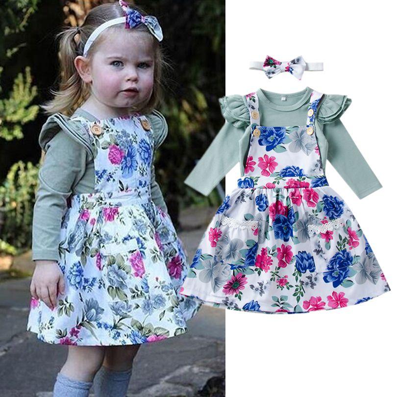 2019 Spring Autumn Kids Girls Flower Dresses Suspender Skirt Solid
