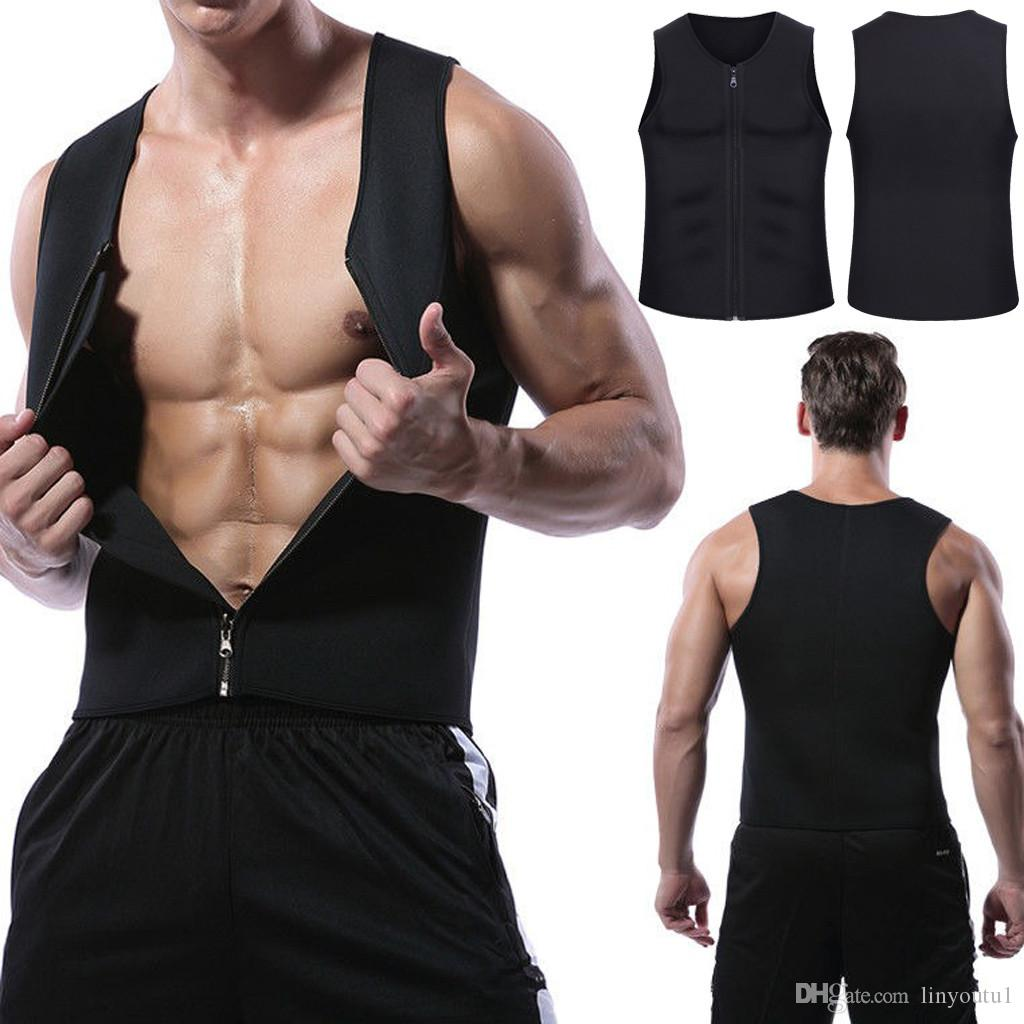 1ce9712956 2019 2019 Mens Slimming Vest HOT Shirt Fitness Weight Loss Sweat Sauna Suit Waist  Trainer Body Shaper Neoprene Tank Top With Zipper From Linyoutu1