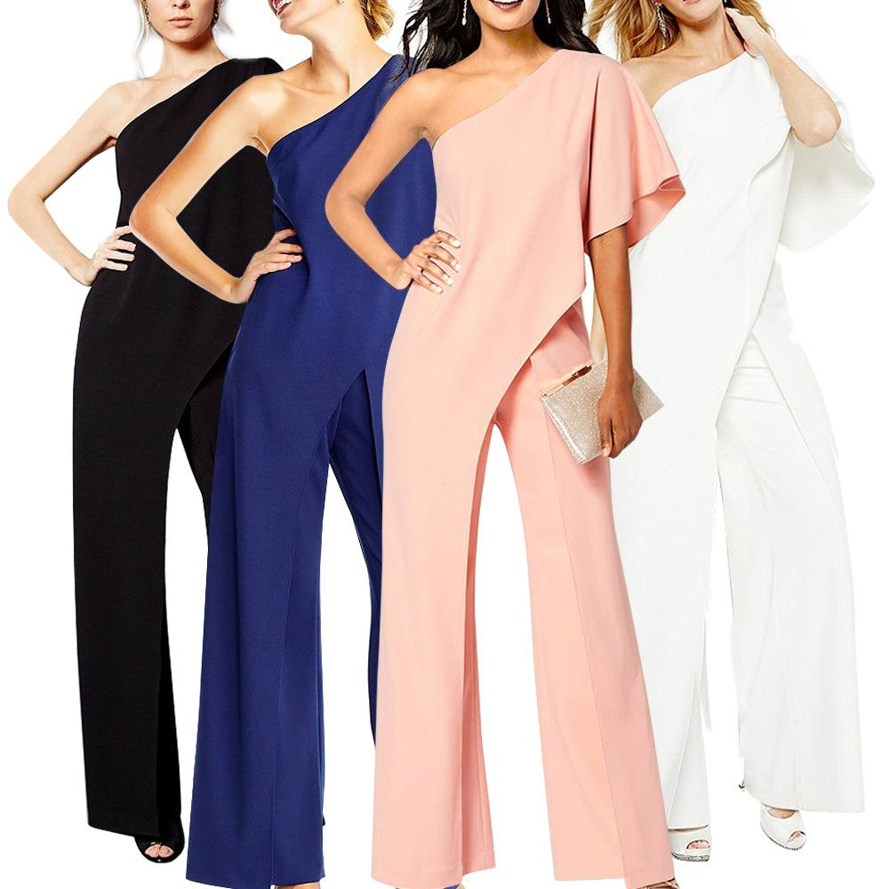 75fbe83d881 2019 Off Shoulder Sexy Rompers Womens White Jumpsuit Long Wide Leg Pants  Slash Neck Solid Jumpsuit Elegant Party Bodycon Vrouwen Jumpsuit From  Ngexport