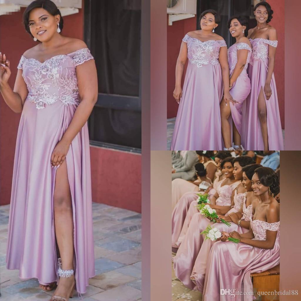 2019 Lace Applique Plus Size Bridesmaid Dresses Off Shoulder Side Split Long Maid Of Honor Wedding Guest Dress