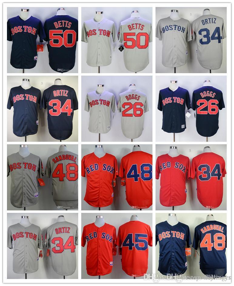 best service 7dd42 b95ef Good quality Men's Baseball Jerseys 26 Wade Boggs 34 David Ortiz 48 Pablo  Sandoval baseball 100% stitched Jerseys color red gray blue w