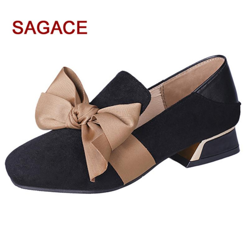 27e85191622 Designer Dress Shoes Hb@2019 Sagace Ladies Pumps Women Square Toe Flock  Shallow Square Heel Slip On Casual Single Zapatos De Mujer Mens Shoes  Loafers From ...
