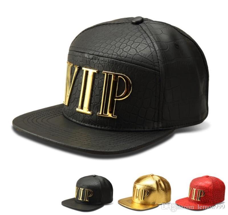 f80874960fb Fashion Hiphop PU Leather Snapbacks Hip Hop Hats Snapback Golden VIP DJ Baseball  Caps For Men Women Crocodile Grain Adjustable Sport Hat Hat Store Ny Cap ...
