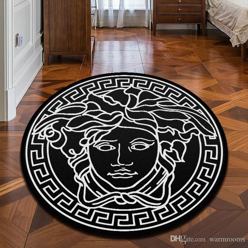 New Brand Logo Medusa Pattern Carpet Hot Sale Anti-Slip Carpet Black Home Decor Doormat Kitchen Bathroom Livingroom Floor Mat Home Supplies