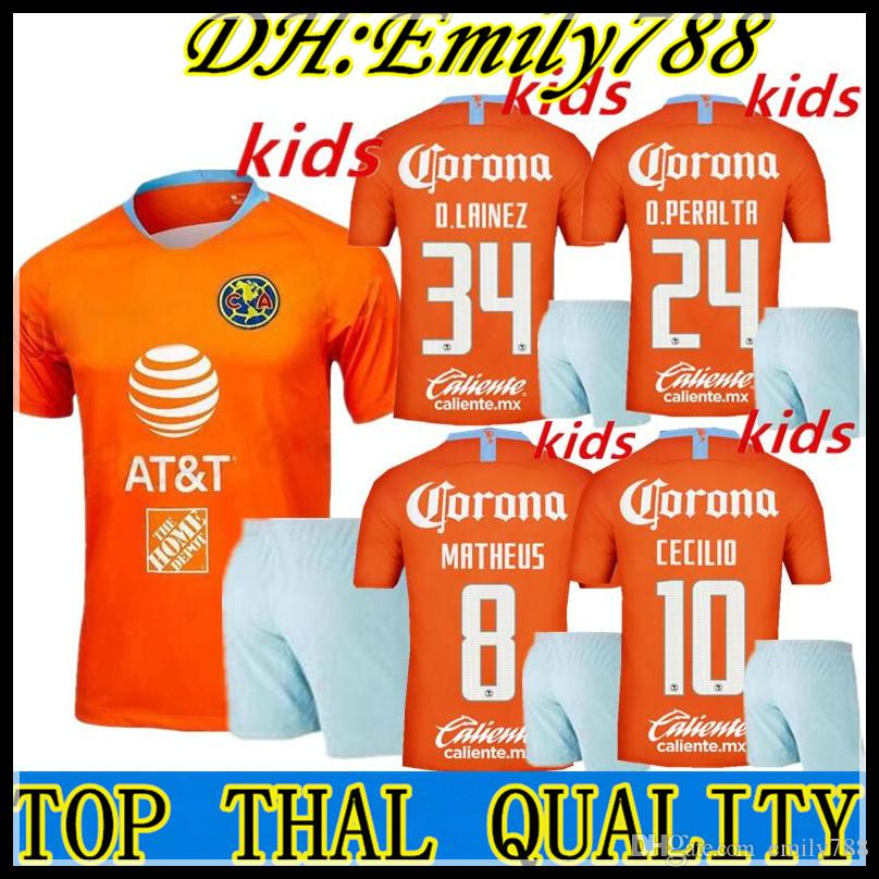 b06cb2b3e5a 2019 Kid Kits 18 19 Mexico Club America Kids Third Kits Soccer Sets Club  America Boys Football Sets 2018 2019 O.Peralta Children Soccer From  Emily788, ...