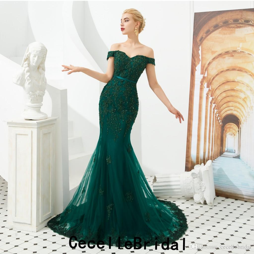 2019 New Dark Green Off the Shoulder Mermaid Long Prom Dresses Beaded Lace Appliques Women Formal Evening Party Gowns Real Photos