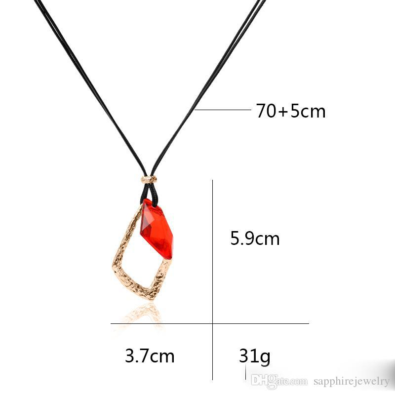 Long Fashion Temperament Personality Red Color Noble Pendant Necklace For Women Party Wedding Anniversary Birthday Jewelry Gift