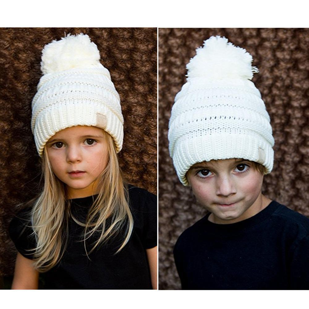 Fashion Kids Baby Toddler Cable Knit Children s Pom Winter Hat Beanie Girls  Boys Caps with Hairball Warm CC Cute Toddler Hats Skullies   Beanies Cheap  ... 452278a48e25